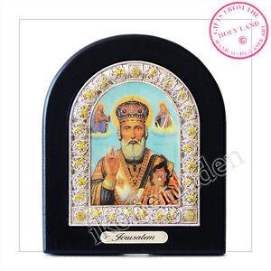 Holy Land Holz Ikone Nikolaus geweiht Souvenir aus Jerusalem Geschenk Николай