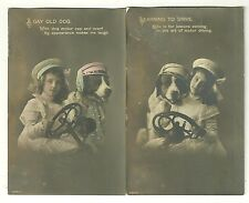 Two Pre 1915 real photos of Girl with a dog learning to drive postcards