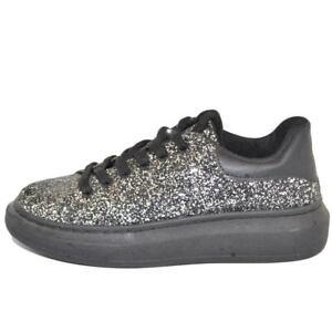 Sneakers donna bassa argento con glitter fondo tondo alto nero comode lacci a co
