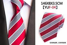 rot, grau und weiß Streifen Muster Handgefertigt 100% Seidenkrawatte