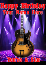 Semi Acoustic Sunburst Guitar cptmi22 Birthday Card A5 Personalised Greetings