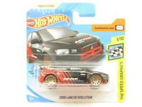 Hotwheels 2008 Lancer Evolution Black HW Speed Short Card 1 64 Scale Sealed