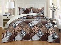 2Pc Twin Brown Black White Animal Print Safari Micro Fur Sherpa Comforter Set