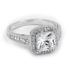 2 tcw Princess Cut Halo Engagement Ring w/ Double Prong Design Solid Silver