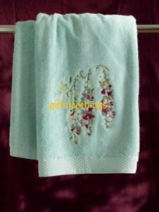 Yves Delorme Pergola Glacé Blue Green Cotton Modal Terry Towel Floral Embroidery