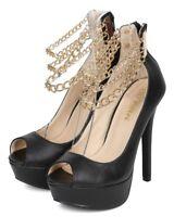 New Women Liliana Heighten-41 Floral Peep Toe Ankle Chains Stiletto Pump
