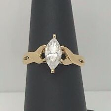 14K GOLD DQ CZ DIAMONIQUE RING 1CT 10 X 5 MARQUISE SIZE 6.5