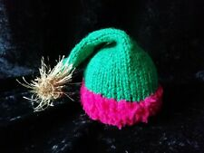 Hand Knitted Christmas Elf Hat with Bell Chocolate Orange Cover