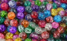 Round Glass Crackle Beads Jewellery Making Fishing Craft Wedding Dress Beading
