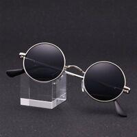 Vintage Polarized John Lennon Sunglasses Hippie Retro Round Gold Black Glasses
