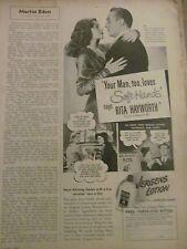 Rita Hayworth, Jergens Lotion,Vintage Print Ad
