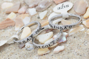 Stackable thumb Rings~Engraved~S/ Steel- 3mm comfort fit~Names and date~Discount
