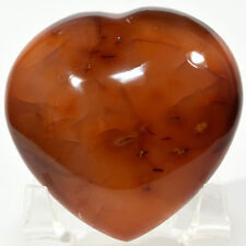"2.5"" Orange Red Carnelian Agate Puffy Heart Natural Mineral Stone - Madagascar"
