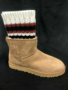 UGG X Sacai Men's Knit Classic Mini II Sheepskin Boots Chestnut Suede 1102990