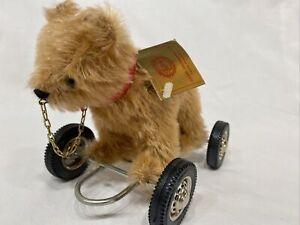 Hermann Teddy Original Bear on Wheels Pull Toy With Tags CUTE!! West Germany