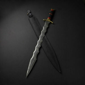 Custom handmade damascus steel Dagger battle sword With design and Leather bag