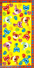 """30x60"""" Funny Cats & Dogs Velour Beach Towel"""