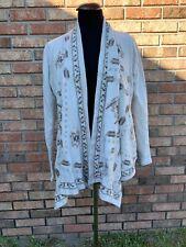 Lucky Lotus Draped Cardigan Sweater Sweatshirt Medium Tan Embroidered W/pockets!