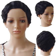 7A Peruvian Human Hair Full Wig Short Bob Curly Wave Wigs Natural Soft Jet Black