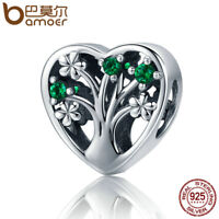 BAMOER S925 Sterling silver charm Summer Tree with AAA Zircon For Women bracelet