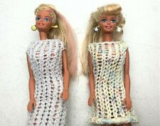 2 Vintage Barbie 1966 Dolls with Earings, Hand Knitted Dresses, Color Hair