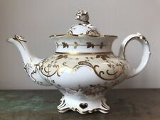 1830s Antique English Victorian Porcelain Teapot, John Ridgway, Rose Finial. A/f