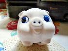 Vintage Japan Pig Piggy Bank Souvenir Chicago Illinois White Cobalt Blue