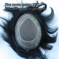 Mens Hair System Human Remy Hair Toupee Fine Mono & Poly Hairpieces Jet Black