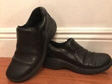 NURSE MATES Womens Dove Black Leather Slip On Occupational Shoes Size 6.5