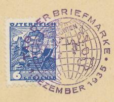 """ÖSTERREICH SONDERSTEMPEL 1935 """"TAG DER BRIEFMARKE 1. DEZEMBER 1935"""" in VIOLETT"""