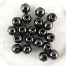 Lot 20 Perle Hematite Noir 6mm Non-Magnetique Creation bijoux, bracelet, Collier