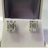 3.00 Ct Emerald Cut Diamond Solitaire Stud Earrings 14K White Gold Over