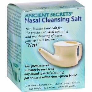 Ancient Secrets Nasal Cleansing Salt Packets - 40 Packets 3 Pack