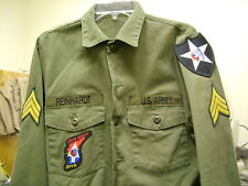 US ARMY VINTAGE JOHN LENNON BEATLES REVOLUTION OLIVE FATIGUE SHIRT **NEW**