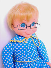 1967 Mattel Talking Mrs Beasley Doll Tvs Family Affair w Glasses, Collar & Apron