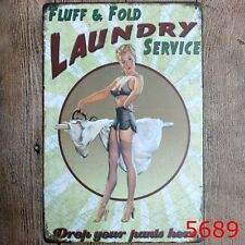 Metal Tin Sign laundry service Bar Pub Vintage Retro Poster Cafe ART