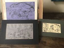 Set Of 3 Original Ink And Pencil Drawings By The Comic Artist Revel Coles