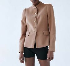 ZARA NEW FITTED BLAZER WITH STAND-UP COLLAR ARMY-STYLE BEIGE PINK XS-XL 8176/181