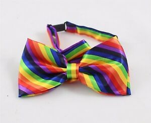 Rainbow Bow Tie - Satin Feel w Clasp & adjustable Strap - Mardi Gras Party