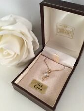 Vintage Jewellery 9ct Gold Necklace Chain White Sapphire 9 ct Pendant Jewelry