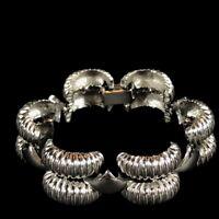 Vintage Link Bracelet Silver Tone Rolly Polly Statement Ribbed