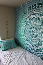New Green Ombre Mandala Bohemian Wall Hanging Queen Size Indian Cotton Tapestry