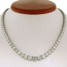 35Ct Round D/VVS1 Diamond 14K White Gold Over Silver Graduated Tennis Necklace
