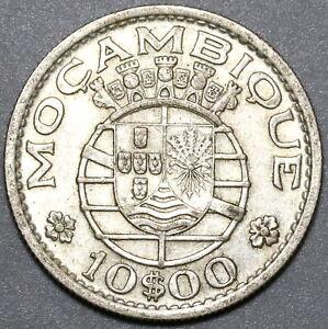1952 Mozambique 10 Escudos XF Portugal Colony Silver Coin (20042003R)