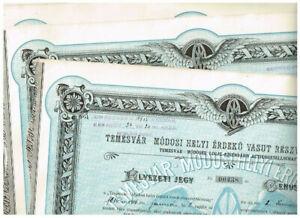 Set 3 Temesvar-Modoser Local-Eisenbahn AG, Budapest 1916, Genuss-Schein, top-dek