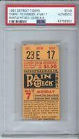 1951 MICKEY MANTLE YANKEES ROOKIE BASEBALL TICKET MAY 7 HITS # 22,23 RBI 16 PSA