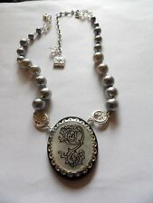 PRETTY MINT BRANDED IMITATION PEARL & MOP PENDANT STATEMENT NECKLACE MA110