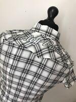 Harley Davidson Biker Black White Women's Check Short Sleeve Shirt STUNNING XS
