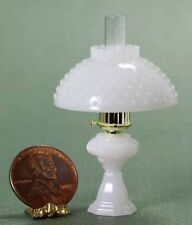 Dollhouse Miniature Non-Working Oil Lamp w/Hobnail Shade in Milky White