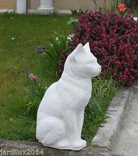 Statue chat Egyptien en pierre reconstituée, ton pierre blanche